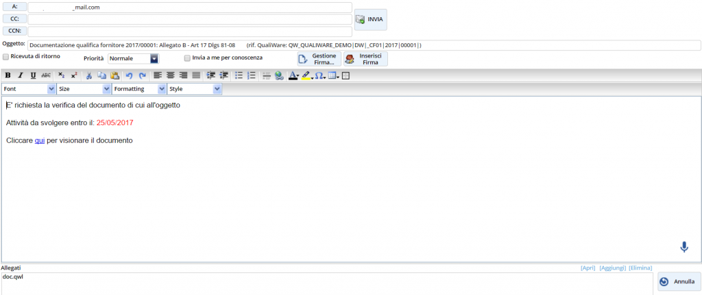 mail con link al portale clienti e fornitori