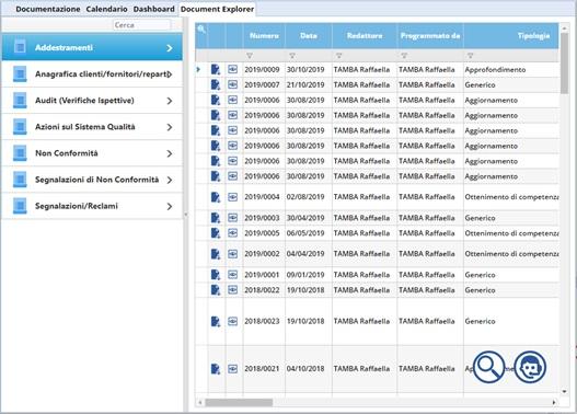 Pannello di navigazione Documenti e registrazioni di QualiWare